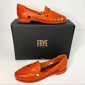Frye Heather Huarache Coral Leather Slip Ons New